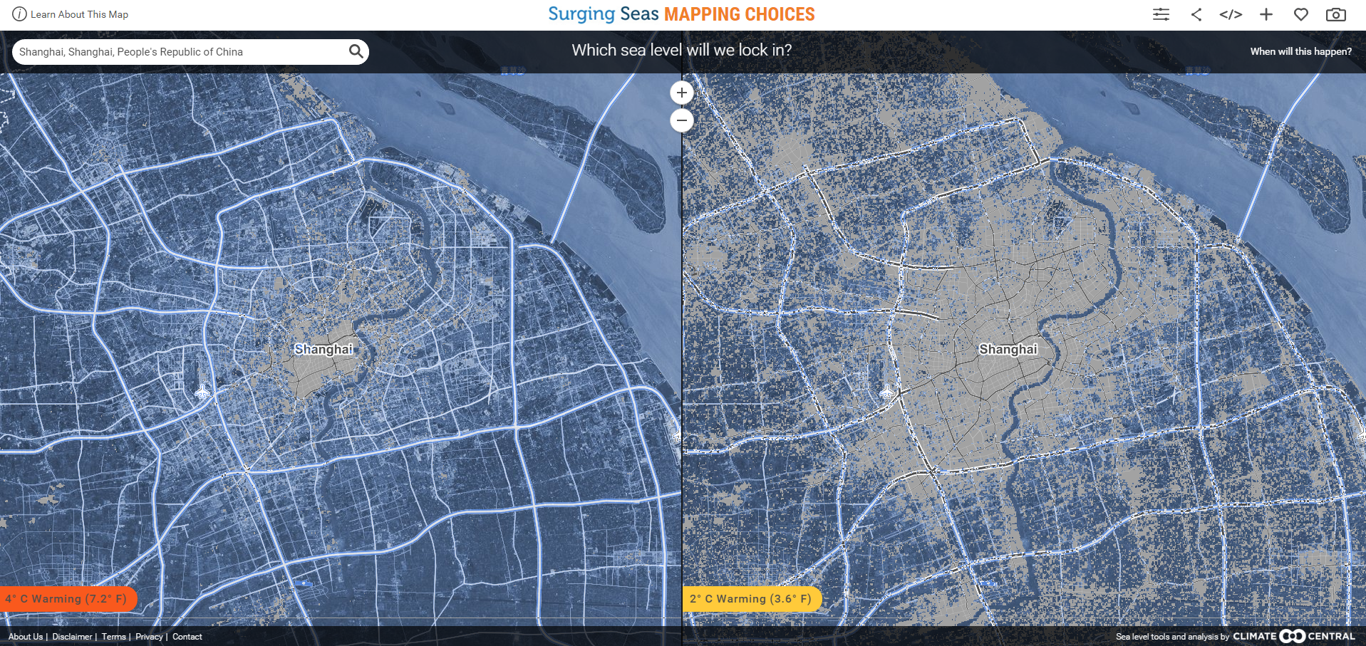 How Will Your City Be Affected By Rising Sea Levels World - Us sea level rise map
