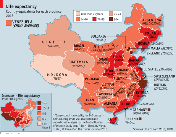 Life expectancy in parts of China exceeds the US How does your