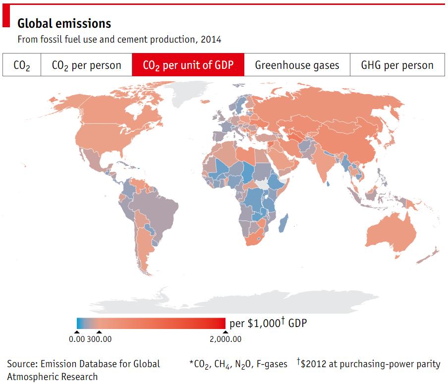 1512B28-carbon emission per unit of GDP 2014 economist world map