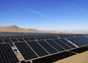 Solar panels of local mining company CAP are seen in the Atacama Desert