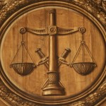 Justice scales are seen inside the Brittany's Parliament in Rennes